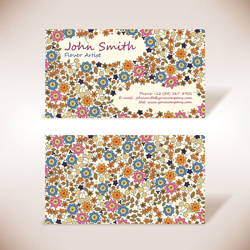 Business card with floral design